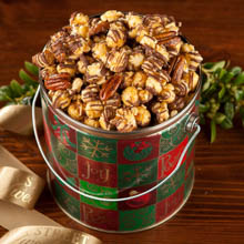 Chocolate Drizzled Nutty Caramel Popcorn Holiday Pail